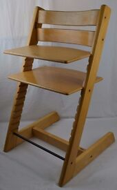 Genuine Stokke Tripp Trapp Adjustable High Chair Natural Beech Finish RRP £169