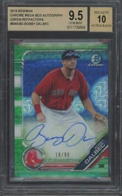 2019 Bowman Chrome Green Refractor Bobby Dalbec /99 RC Gem Mint BGS 9.5 10 Auto