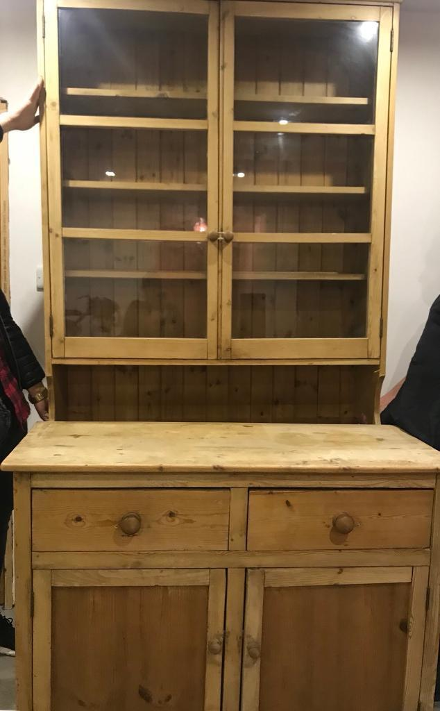 Large antique pine welsh dresser with glass doors in leicester large antique pine welsh dresser with glass doors planetlyrics Gallery
