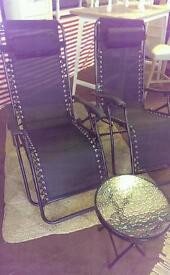 BRAND NEW - Royale Gravity Recliners (x2) & Folding Table