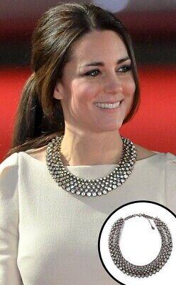 Zara Crystal Rhinestone Statement Necklace As Worn By Kate Middleton Rare