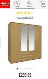 Collection - New Hallingford 4 Dr 3 Drw Mirror Wardrobe - Oak
