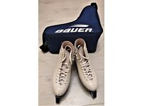 Girls White Ice Skates Size 5 with guards and bag