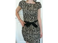 Lovely Animal Print Dress By WAREHOUSE 100% Cotton New Size 8