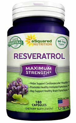 aSquared Nutrition Resveratrol - 100% Pure Natural - 1000 mg - 180 Cápsulas
