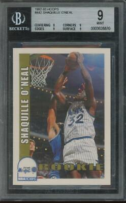 1992 Hoops #442 Shaquille O'Neal RC Rookie Mint BGS 9