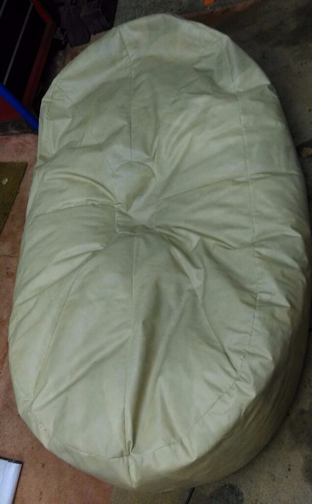 Large Bean Bag - Cream Faux Leather - Free
