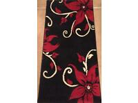Havana Floral Black and Red Runner Rugs