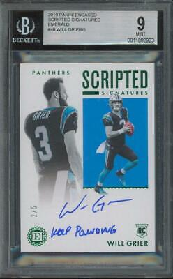 2019 Panini Encased Emerald #40 Will Grier 2/5 RC Rookie Mint BGS 9 10 Auto