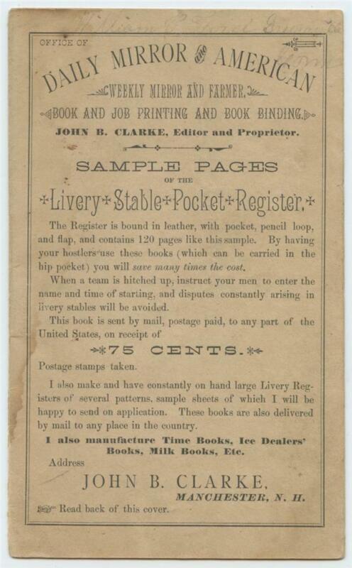 1885 Horse Livery Stable Pocket Register SALESMANS SAMPLE Booklet New Hampshire