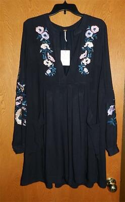 FREE PEOPLE Black MIA Floral EMBROIDERED Lined BOHO Mini DRESS L NWT
