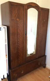 Early twentieth century solid wooden wardrobe