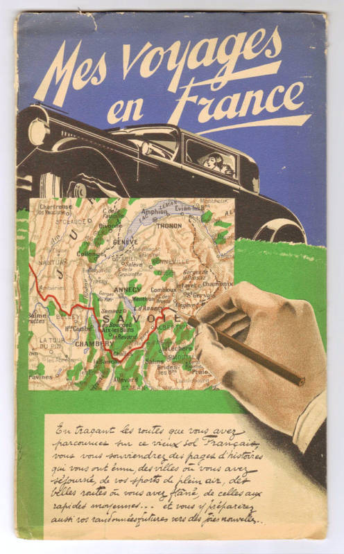 ORIGINAL MES VOYAGES EN FRANCE TOURISM MAP 1934
