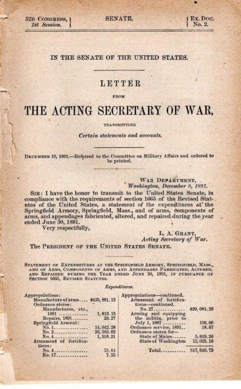 Secr. of War-Statements of expenditures at the Springfield Armory, Springfield M