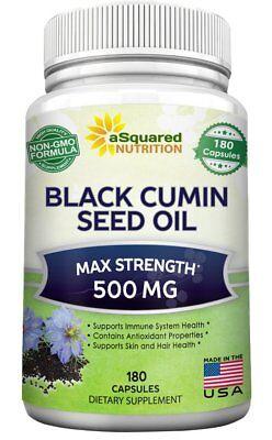 Pure Black Cumin Seed Oil 500Mg   180 Capsules   Cold Pressed Nigella Sativa
