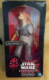 "Boxed Star Wars Episode 1 Jar Jar Binks Hasbro 12"" Action Collection Figure 1998"