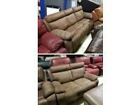 Brown suede 3 & 2 seater sofa recliner