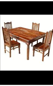 High quality solid wood farmhouse style 6 seater table & chairs