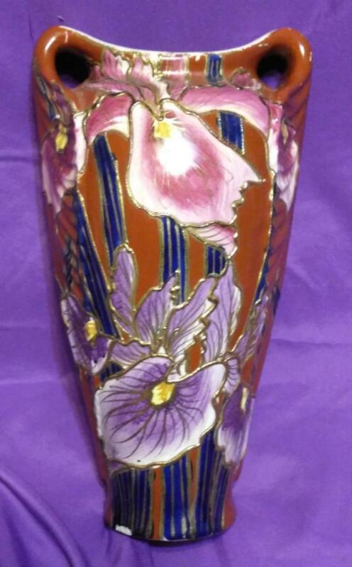 Old Vintage Antique Art Pottery Asian Vase Urn China or Japanese Iris Flowers