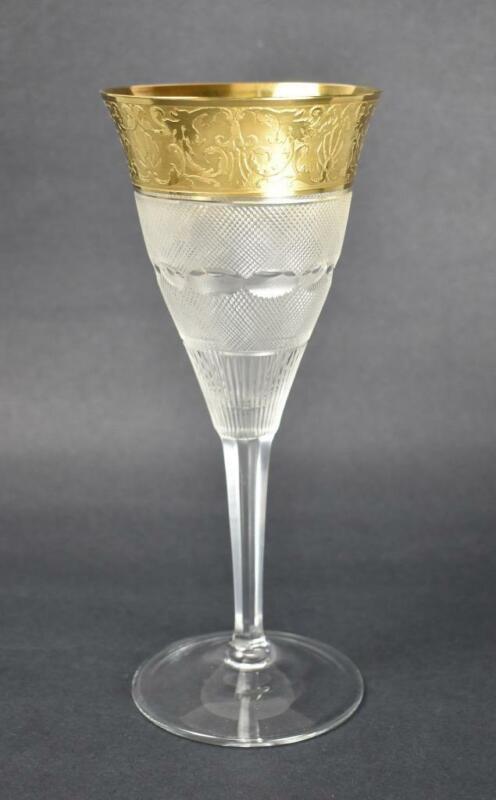 """Moser Crystal Water Goblet """"Splendid""""  24K Gold Details"""