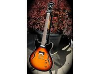 IBANEZ AS73 GUITAR Sunburst / with Bare Knuckle's Jazz / Blues. GOLD PARTS