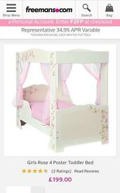 Imaculate toddler four poster bed including mattress