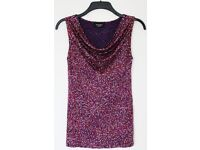 Women's Size 8 Purple and Red Patterned Summer Vest Top By Principles