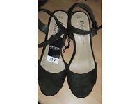 Brand new sandals never been worn dark green with snake print on heel