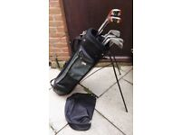 TOUR GREEN & BLACK GOLF BAG WITH STAND AND A SET OF RADIUS SOLE & WILSON GOLF CLUBS