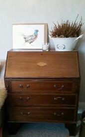 Solid wood, vintage writing bureau - still with working key