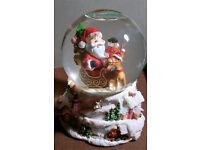 musical santa glitter snow globe