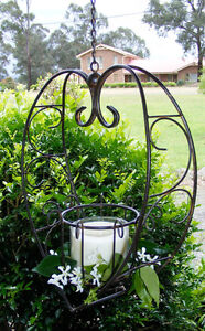 Wrought Iron Hanging Candle Holder - Wedding Decoration - Heart Shape Brown CW34