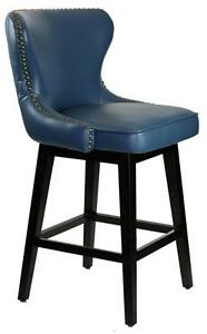 Kitchen Counter Stool with Antique Brass Nail Heads - Peacock Blue or Inc Blue Leather