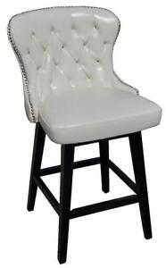 Ivory and Black Tufted Swivel Kitchen Counter Stool with Silver Nail Head
