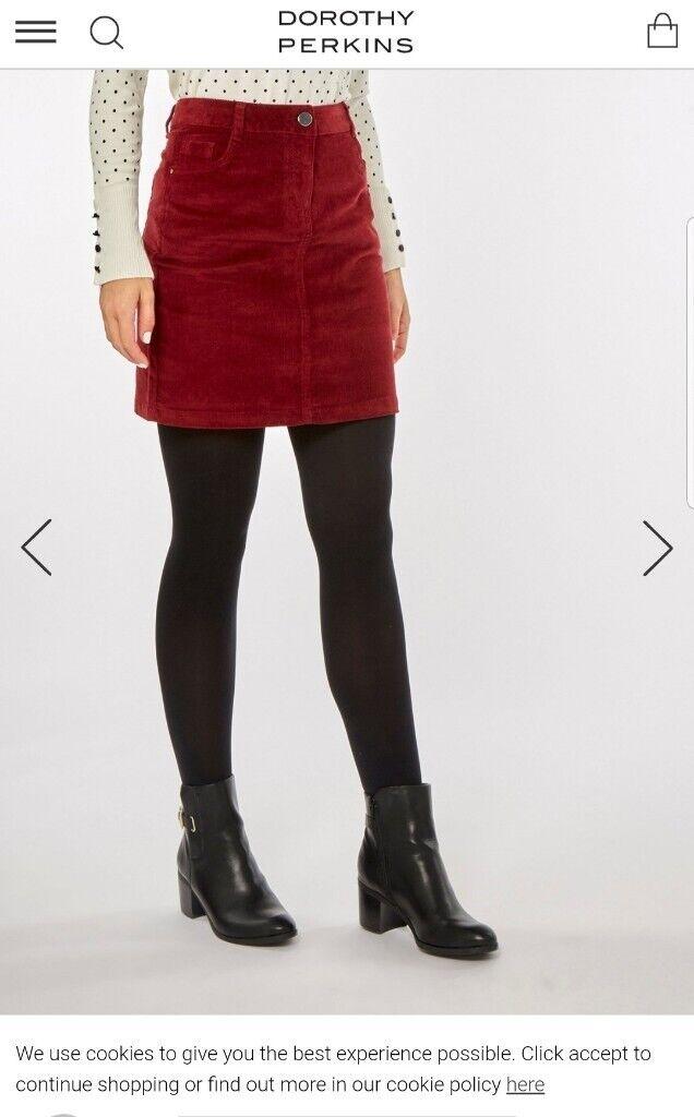 e16063cdf6 Corduroy Berry Skirt Dorothy Perkins - Size 14-16