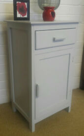 VINTAGE RETRO GREY SHABBY CHIC WOOD CABINET BEDSIDE CABINET WITH 1 DRAW