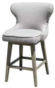 Counter Height Stool with Tufted Back in Light Grey Fabric and Reclaimed Legs by ARTeFAC