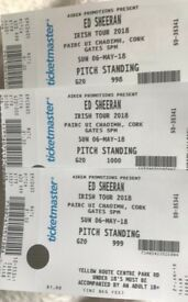 3 tickets for Ed Sheeran in Cork 6th May-£200