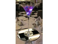 Centrepieces for Hire - 50cm Martini Vases & 40cm Round Mirrors