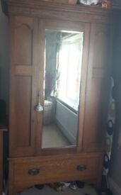 Antique Matching Bedroom Furniture. Large mirrored wardrobe and matching chest of drawers