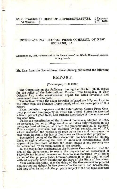 Cmte. on Judiciary-International Cotton Press Company of New Orleans