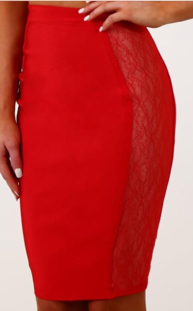 Modern Romance Bandage Lace Panel Midi Skirt