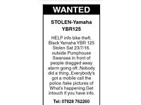 Stolen from outside Pumphouse Swansea,Sat 23/7/16.Black Yamaha YBR 125
