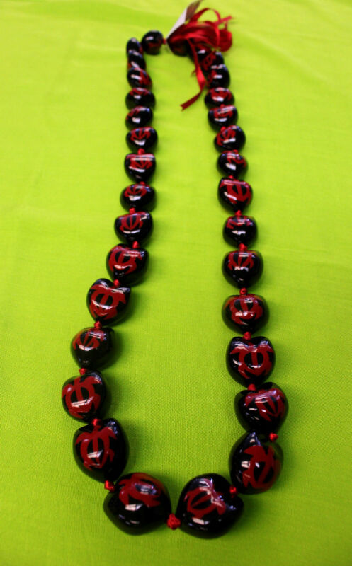 Hawaii Wedding Graduation Kukui Nut Lei Necklace  BLACK W/ RED TURTLES ( QTY 2 )