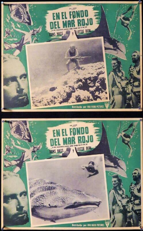 L205    UNDER THE RED SEA  Lot of 2 Mexican Lobby Cards
