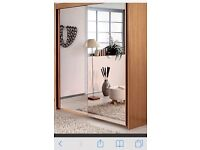 Beech mirrored doors sliding wardrobe