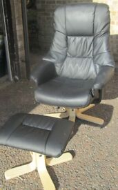 FAUX LEATHER OFFICE CHAIR AND FOOTSTOOL