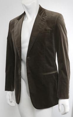 Hermes Herren Braun Velvet 2-Button Blazer Sakko Anzug Jacke Mantel 48/38