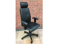 Black Faux Leather Office Swivel Chair With High Back On Wheels