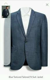 Next blue textured tailored fit suit